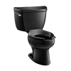 KOHLER Wellworth Black Black 1.0-GPF (3.79-LPF) 12 Rough-In WaterSense Elongated Pressure Assist 2-Piece Comfort Height Toilet
