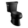 KOHLER Wellworth Black Black 1.0-GPF (3.79-LPF) 12 Rough-In WaterSense Elongated Pressure Assist 2-Piece Comfort Height Toilet