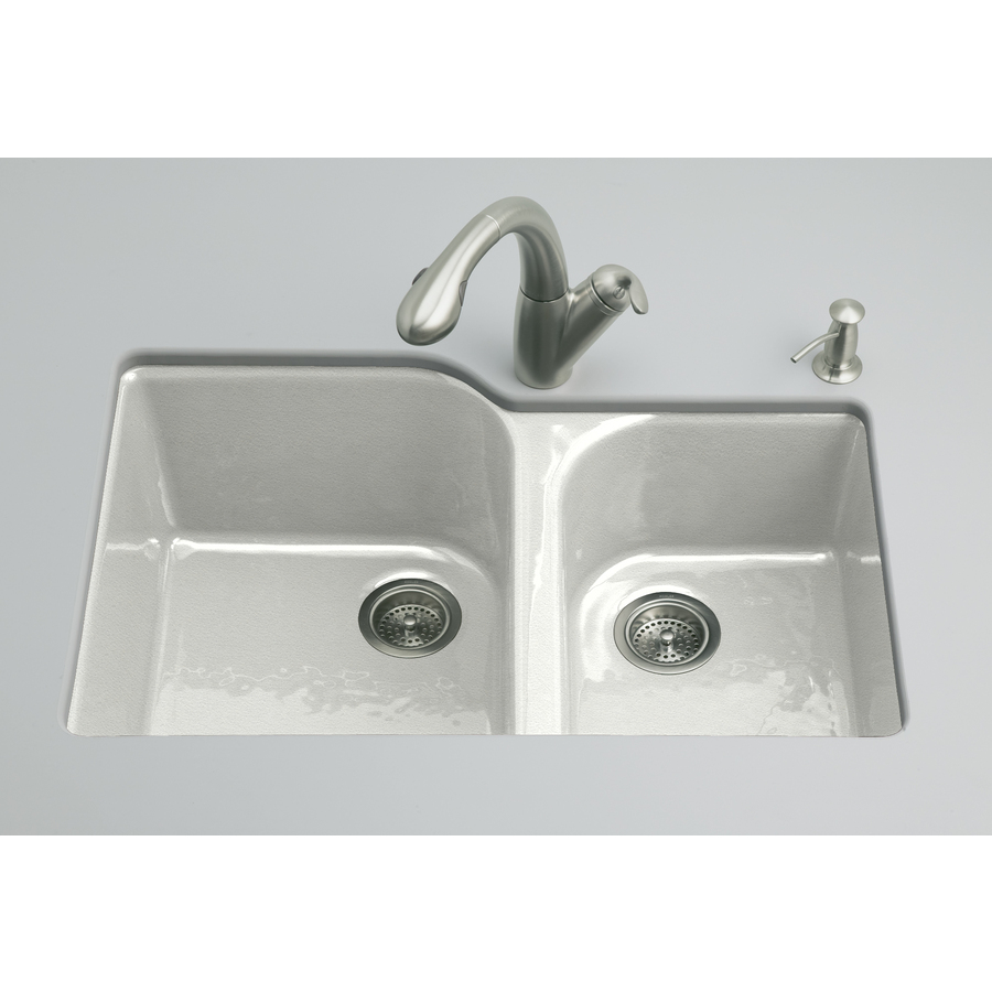 Shop Kohler Executive Chef Sea Salt Double Basin Undermount Kitchen Sink At
