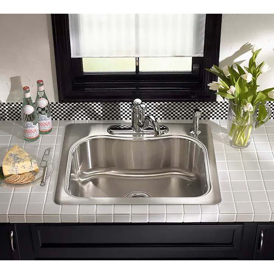 Kohler Stainless Sink : Shop KOHLER Staccato 18-Gauge Single-Basin Drop-in Stainless Steel ...