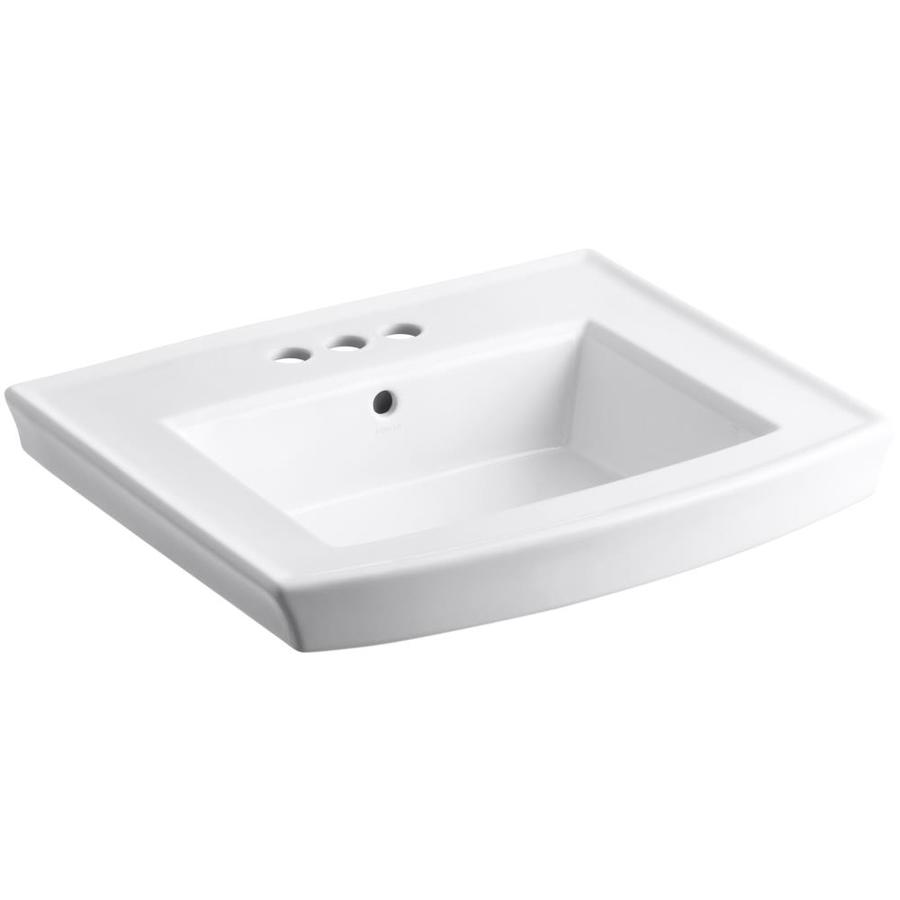 ... -in W White Vitreous China Rectangular Pedestal Sink Top at Lowes.com