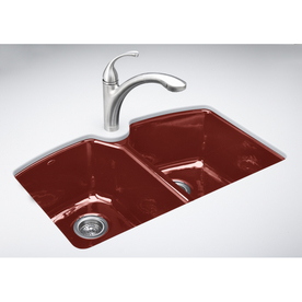 ... Red 3-Hole Double-Basin Cast Iron Undermount Kitchen Sink at Lowes.com