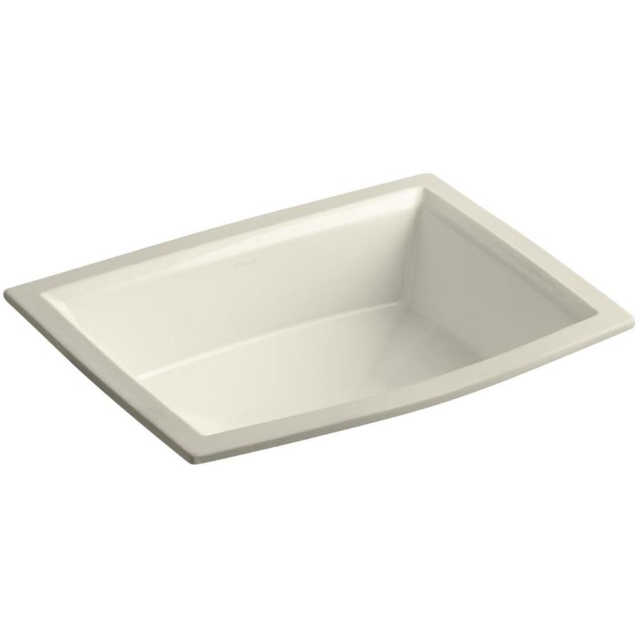 Rectangular Bathroom Sinks Undermount : Shop KOHLER Archer Almond Undermount Rectangular Bathroom Sink with ...