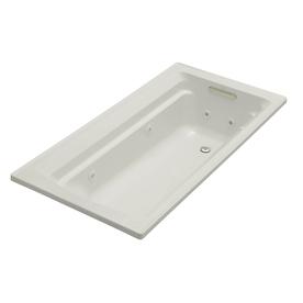 KOHLER Archer Ice Grey Acrylic Rectangular Whirlpool Tub (Common: 36-in x 72-in; Actual: 19-in x 36-in x 72-in)