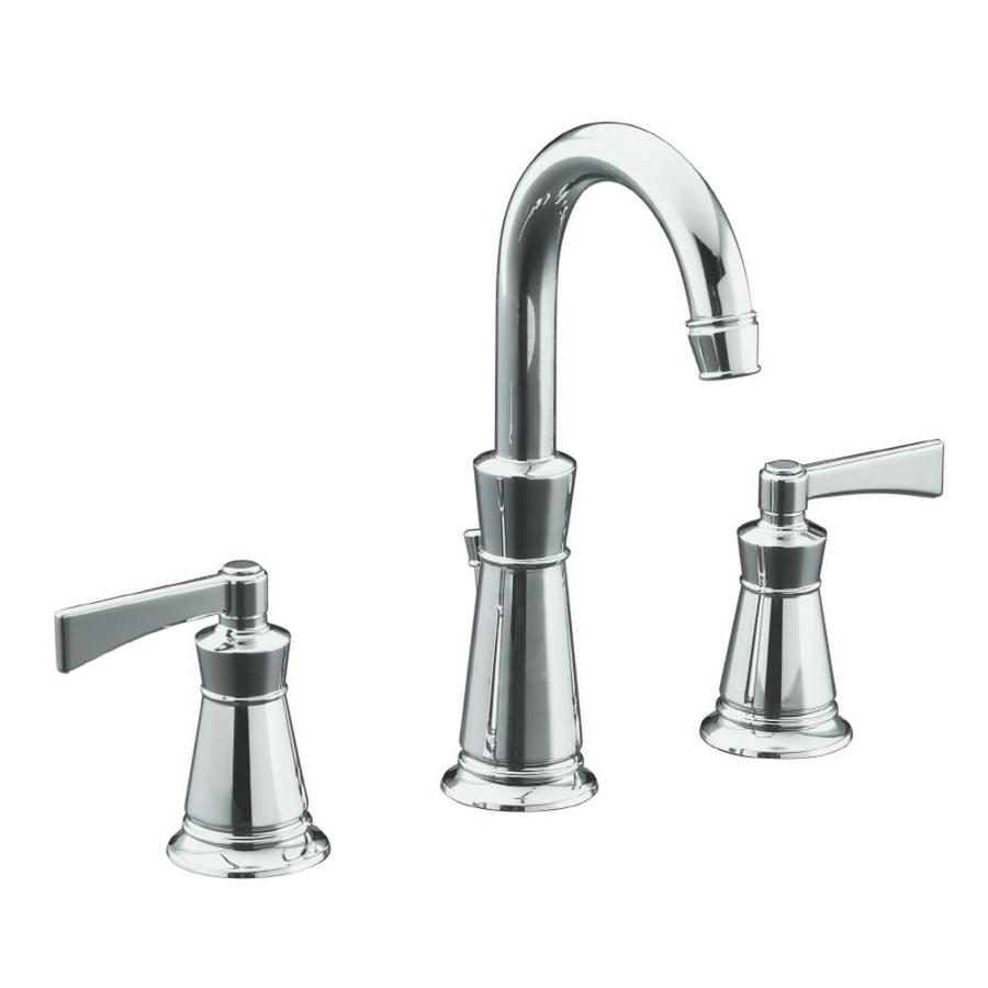 Bathroom Sink Faucets: Shop KOHLER Archer Polished Chrome 2-Handle Widespread WaterSense Bathroom Sink Faucet (Drain