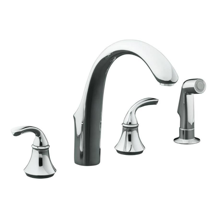 KOHLER Forte Polished Chrome High Arc Kitchen Faucet with Side Spray