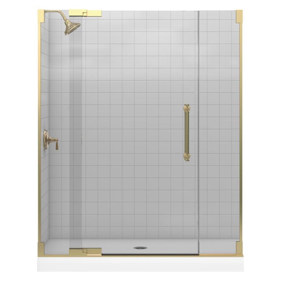 Shop KOHLER Dark Bronze Frameless Pivot Shower Door At