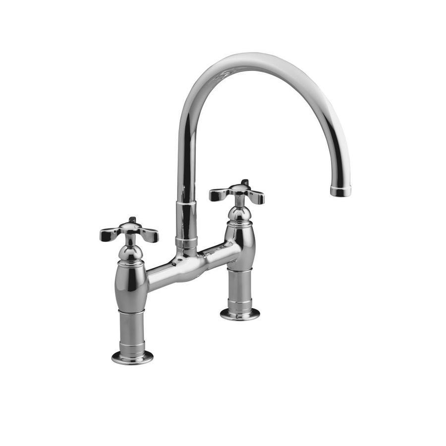 Shop Kohler Parq Polished Chrome 2 Handle High Arc Kitchen Faucet At