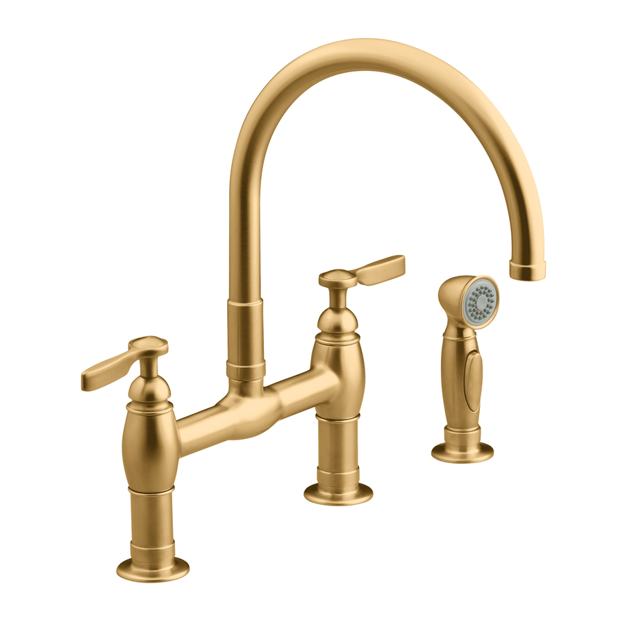 shop kohler parq vibrant brushed bronze high arc kitchen kohler brushed bronze kitchen faucet faucets home