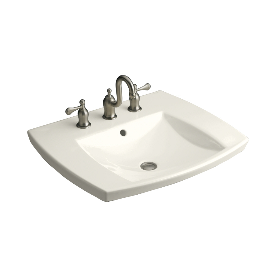 Shop KOHLER Kelston Biscuit Drop-In Rectangular Bathroom Sink with ...