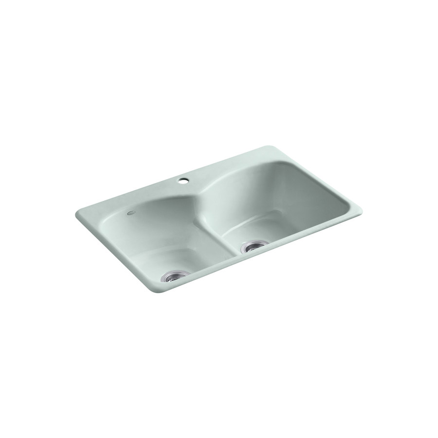33 in frost double basin cast iron drop in kitchen sink at