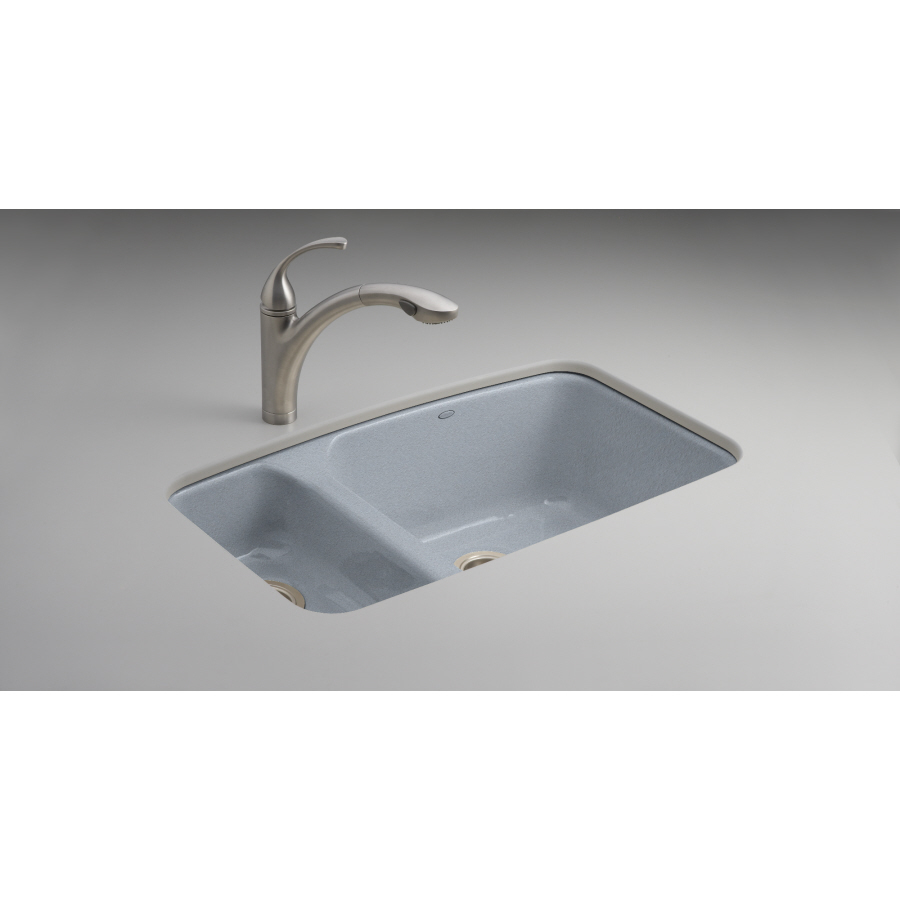 Kohler Kitchen Sinks : KOHLER Lakefield Double-Basin Undermount Enameled Cast Iron Kitchen ...