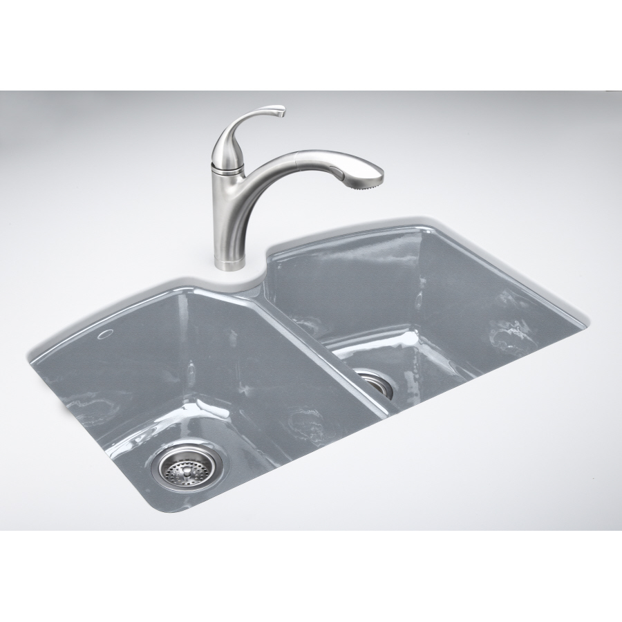 ... Double-Basin Undermount Enameled Cast Iron Kitchen Sink at Lowes.com