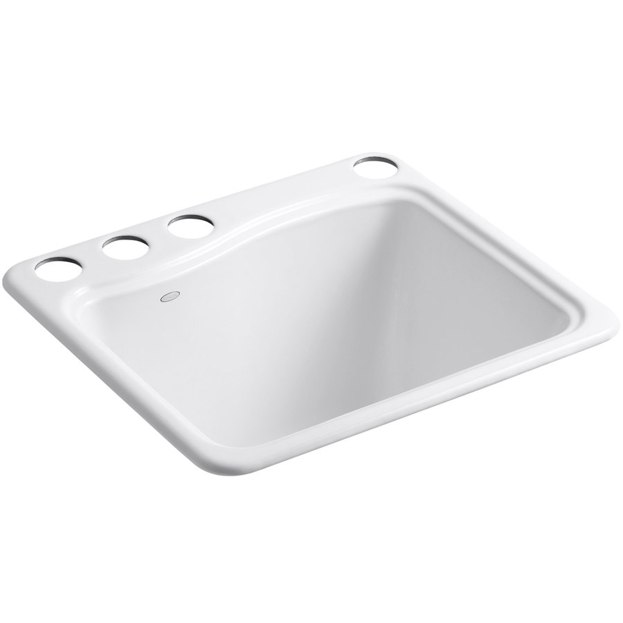 KOHLER 14.75-in x 21.5-in White Undermount Cast Iron Laundry Utility ...