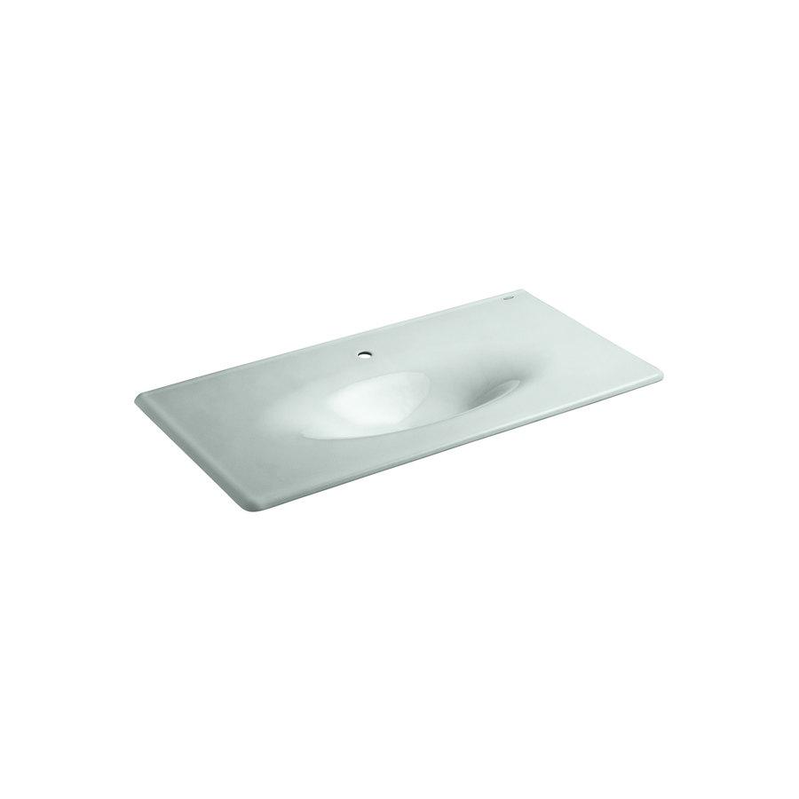 Shop Kohler Iron Impressions Frost Cast Iron Drop In Rectangular Bathroom Sink At
