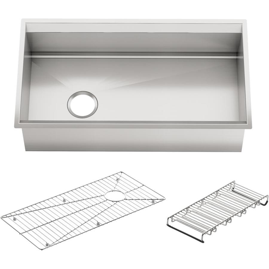 KOHLER 8 Degree Stainless Steel Single-Basin Undermount Kitchen Sink ...