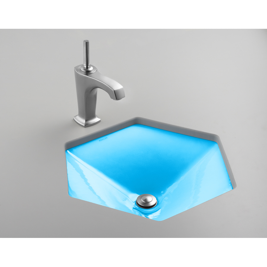 Shop Kohler Votive Vapour Blue Cast Iron Undermount Hexagonal Bathroom Sink At
