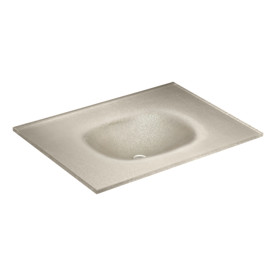 Shop Kohler Tracery Raffia Glass Drop In Rectangular Bathroom Sink At