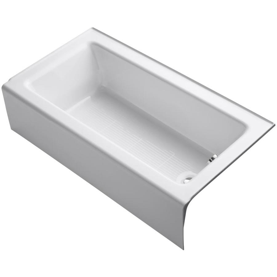 shop kohler bellwether white cast iron rectangular skirted bathtub