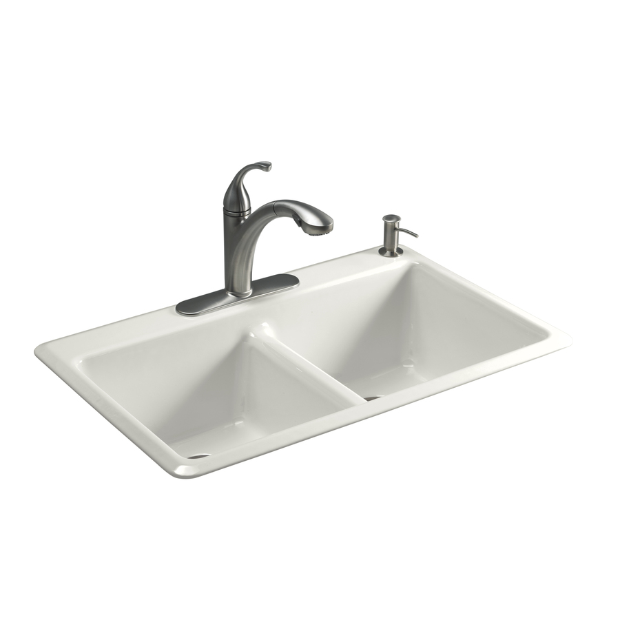 Shop kohler anthem double basin drop in enameled cast iron for Best kitchen faucet for double sink