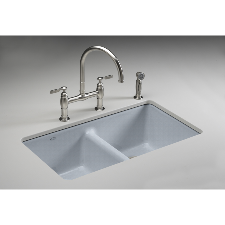 Shop Kohler Anthem Double Basin Undermount Enameled Cast Iron Kitchen Sink At