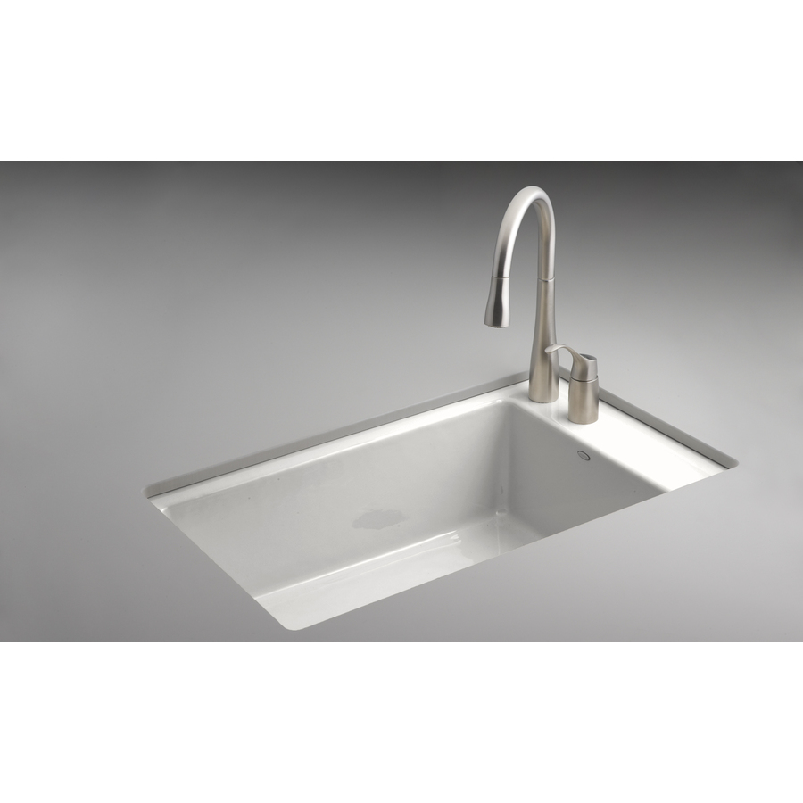 Shop Kohler Indio White Single Basin Undermount Kitchen Sink At