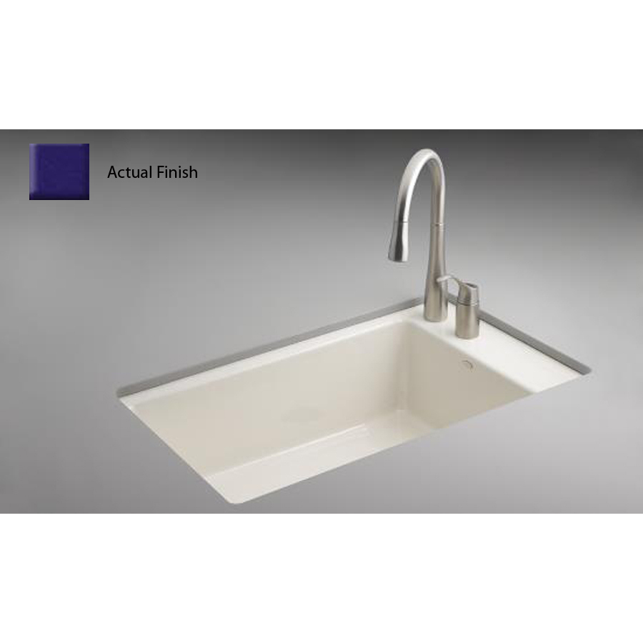 Shop Kohler Indio Single Basin Undermount Enameled Cast Iron Kitchen Sink At