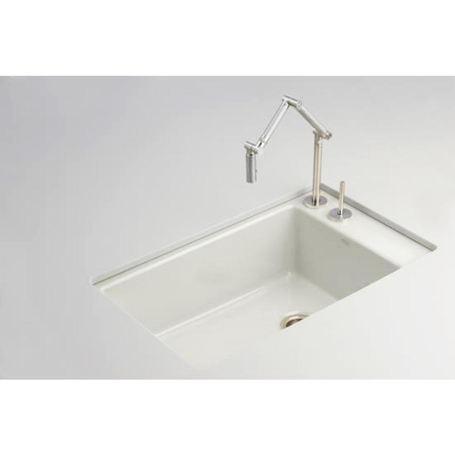 single basin undermount enameled cast iron kitchen sink at