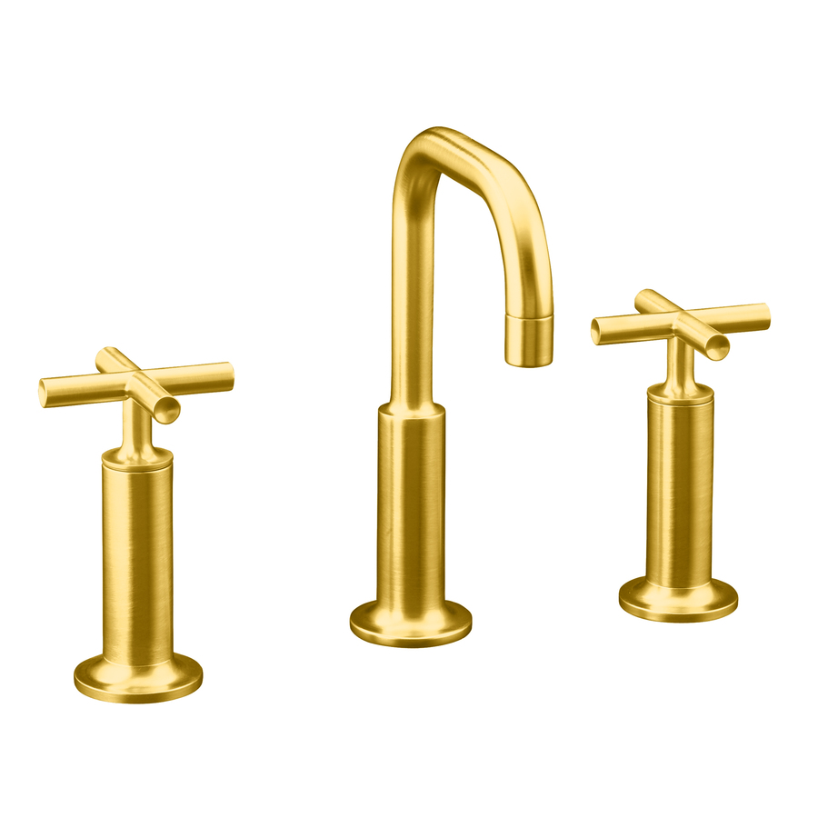 ... Gold 1-Handle Single Hole WaterSense Bathroom Sink Faucet (Drain
