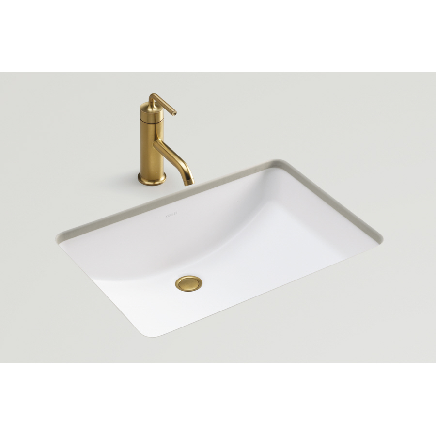 shop kohler ladena honed white undermount rectangular