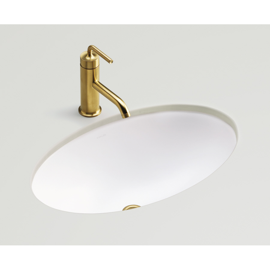 Shop kohler vintage honed white undermount oval bathroom for Bathroom undermount sinks