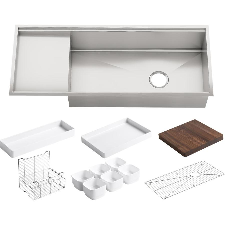Shop kohler stages stainless steel single basin drop in - Kitchen sinks stainless ...