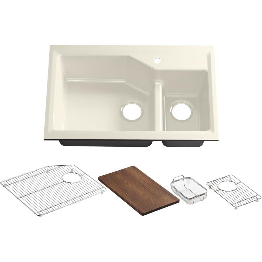 Kohler Undermount Kitchen Sinks : KOHLER Indio Double-Basin Undermount Enameled Cast Iron Kitchen Sink ...