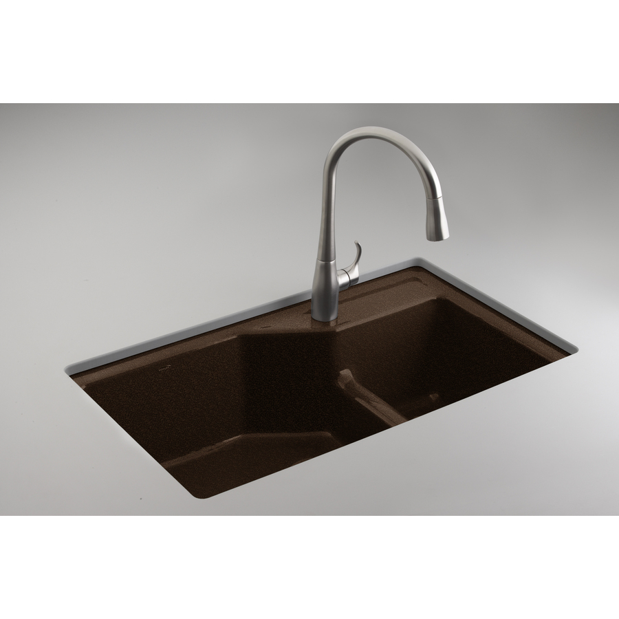 KOHLER Indio Double-Basin Undermount Enameled Cast Iron Kitchen Sink ...