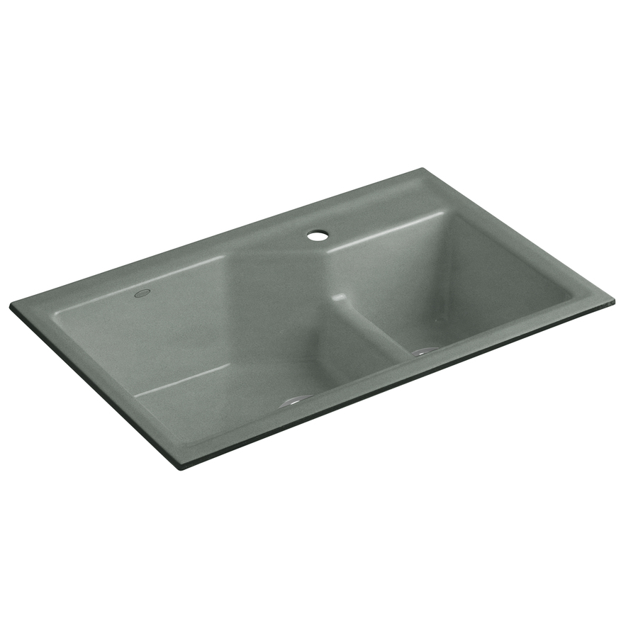 KOHLER Indio Double-Basin Undermount Enameled Cast Iron Kitchen Sink ...