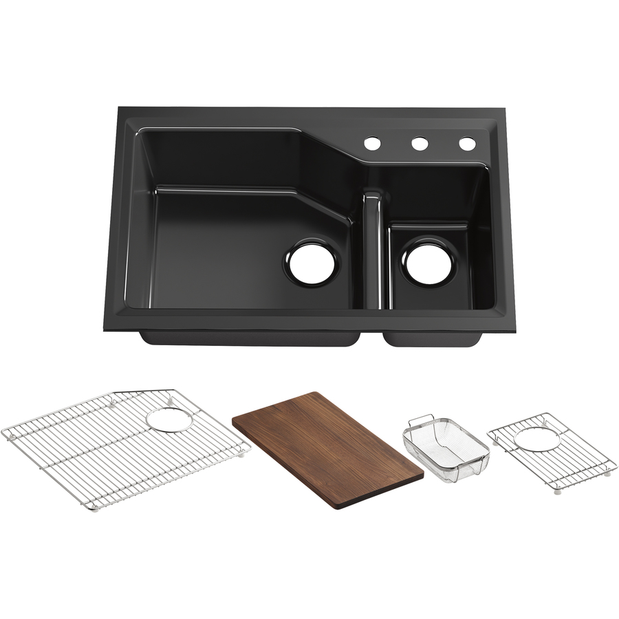 shop kohler indio x 33 in black black double basin cast iron undermount kitchen sink. Black Bedroom Furniture Sets. Home Design Ideas