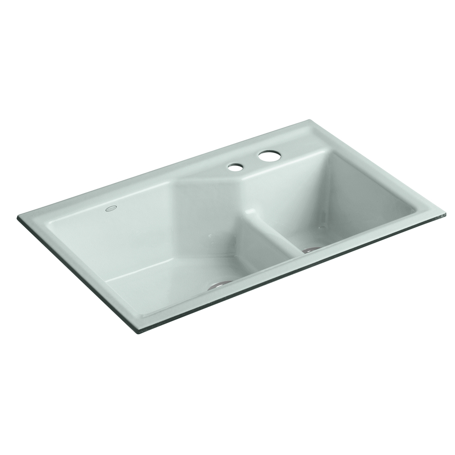 Undermount Double Sink : ... Double-Basin Undermount Enameled Cast Iron Kitchen Sink at Lowes.com