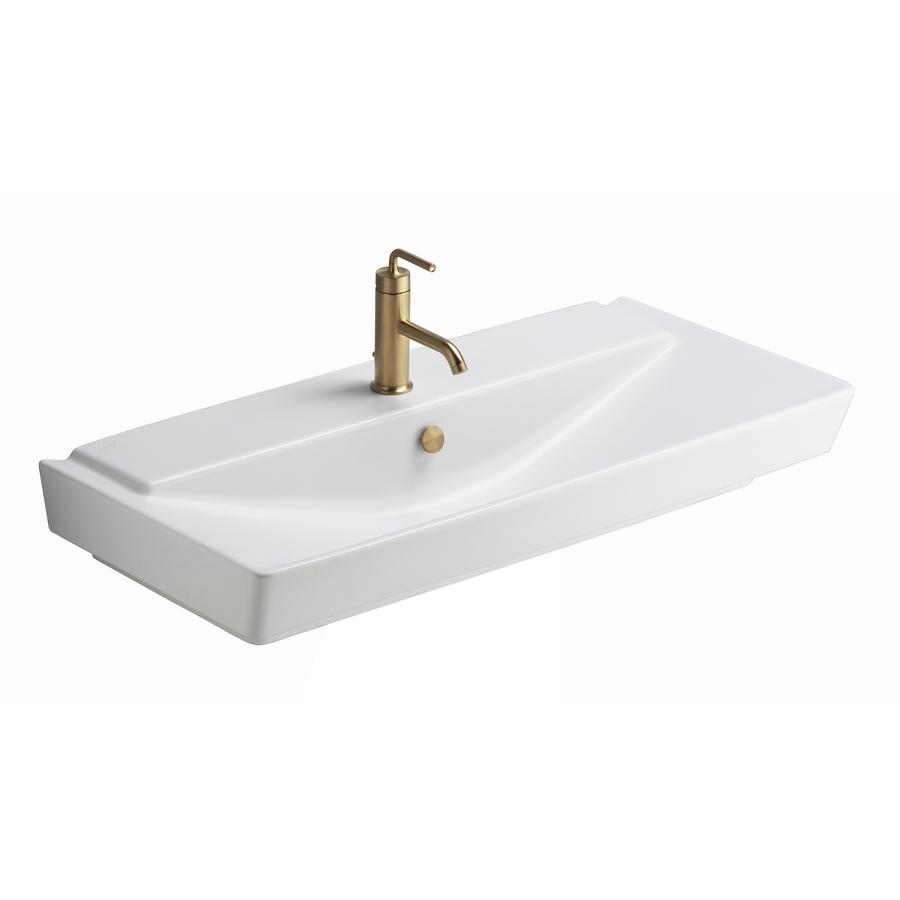 KOHLER Reve Honed White Fire Clay Wall-Mount Rectangular Bathroom Sink ...