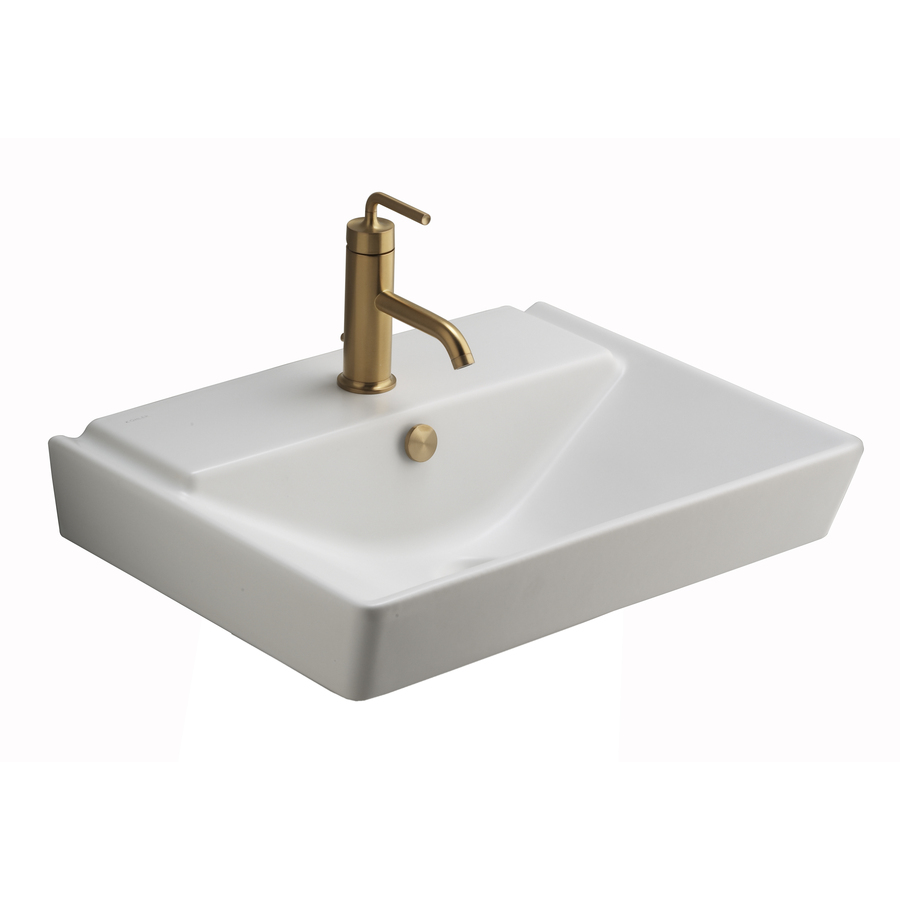 KOHLER Reve Honed White Fire Clay Wall-Mount Rectangular Bathroom Sink ...