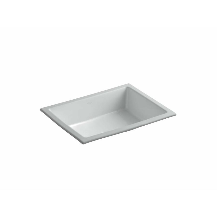 Kohler Undermount Bathroom Sinks : Shop KOHLER Verticyl Ice Grey Undermount Rectangular Bathroom Sink ...