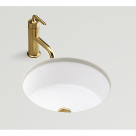 Kohler verticyl honed white undermount round bathroom sink for Kohler round bathroom sinks