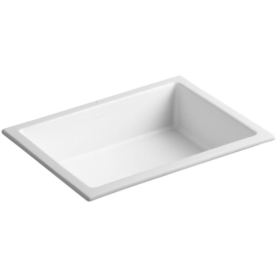 Kohler Rectangular Sink : Shop KOHLER Verticyl Honed White Undermount Rectangular Bathroom Sink ...