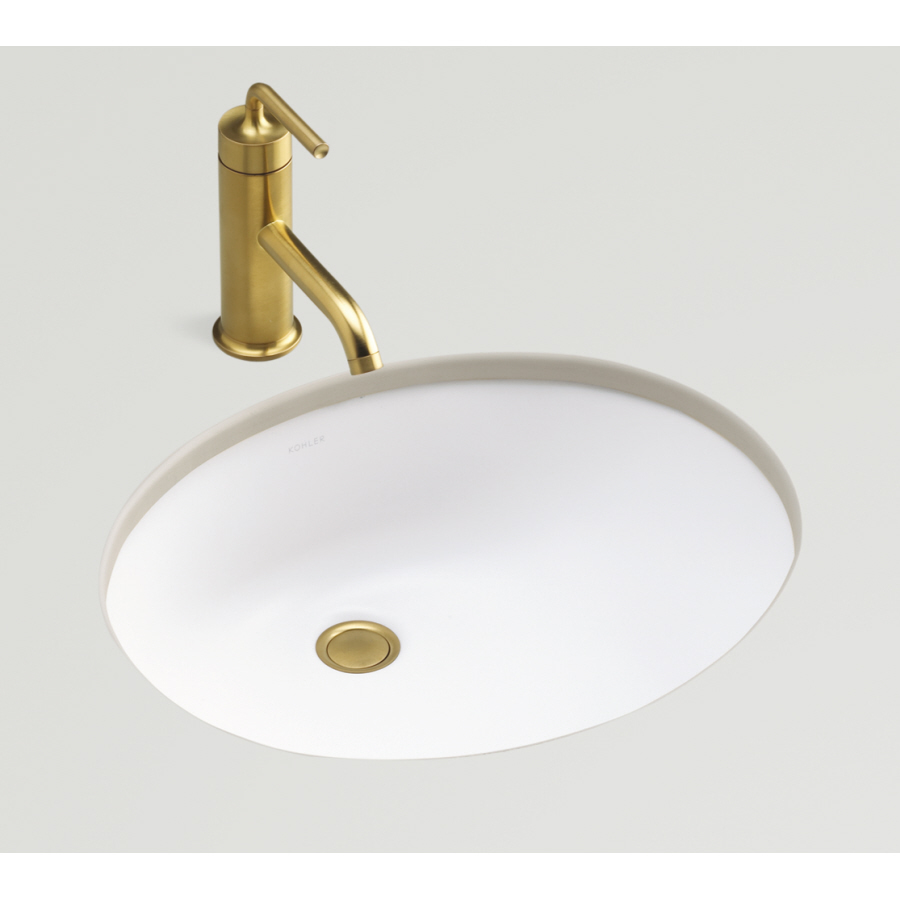 Shop KOHLER Caxton Honed White Undermount Oval Bathroom Sink with ...