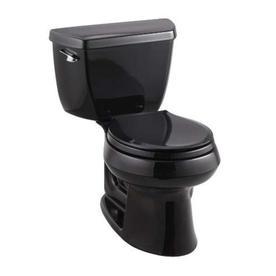 KOHLER Wellworth Black Black 1.28-GPF (4.85-LPF) 12-in Rough-In WaterSense Round 2-Piece Standard Height Toilet