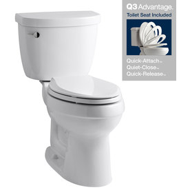 KOHLER Cimarron White 1.28 GPF High Efficiency WaterSense Elongated 2-Piece Toilet