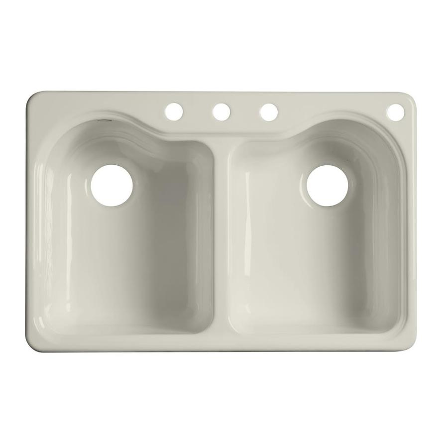 Cast Iron Sink : ... KOHLER Hartland Biscuit Double-Basin Drop-In Kitchen Sink at Lowes.com