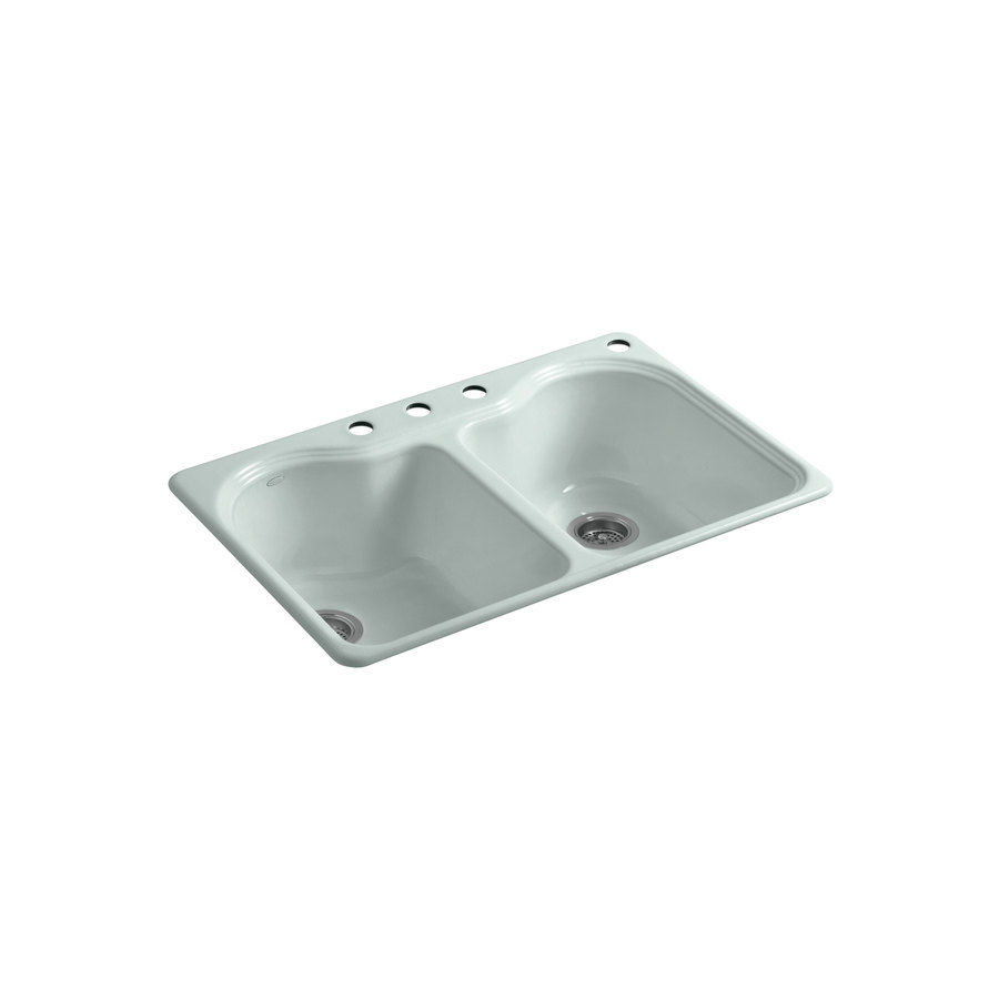 Cast Iron Sink : ... 33-in Frost Double-Basin Cast Iron Drop-in Kitchen Sink at Lowes.com