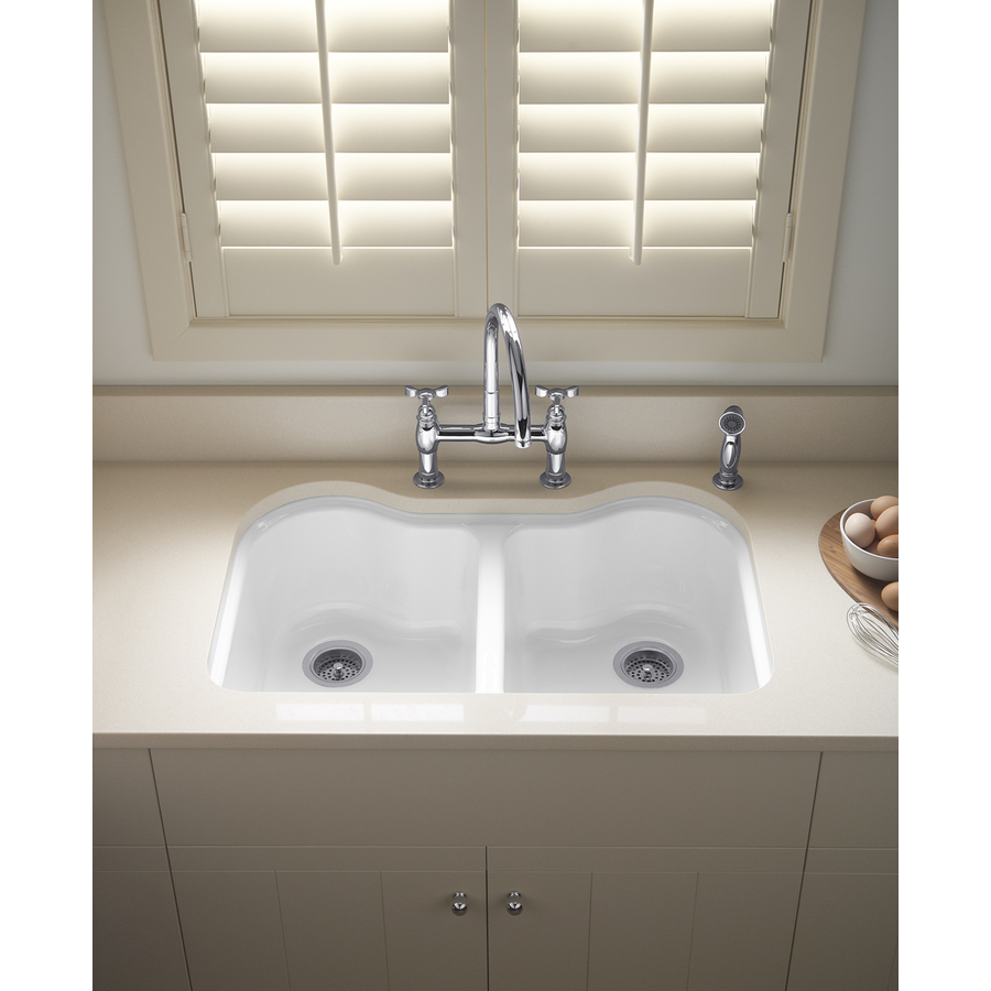 KOHLER Hartland Double-Basin Undermount Enameled Cast Iron Kitchen ...