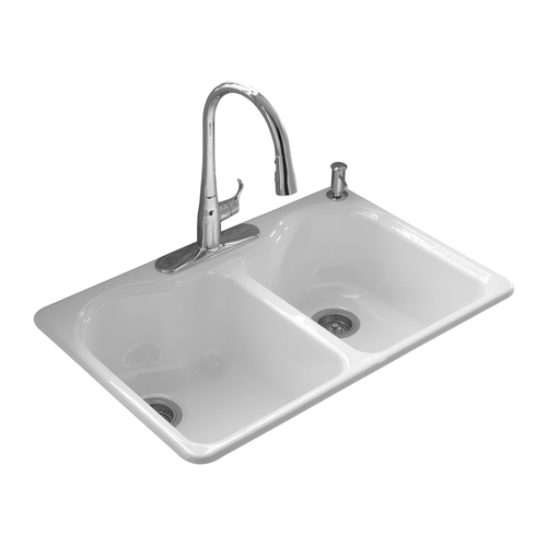 Zoomed: KOHLER White 4-Hole Double-Basin Cast Iron Topmount Kitchen Sink