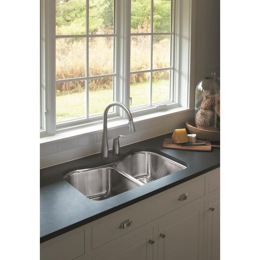 KOHLER Staccato Stainless Steel Double-Basin Undermount Kitchen Sink ...